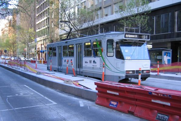 A1.231 heads west on route 31 past platform stop works at Collins and Elizabeth Street