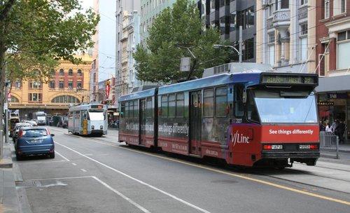 B2.2127 advertising 'V/Line' on route 59 on Elizabeth Street at the Flinders Street terminus