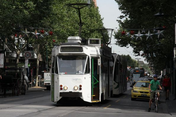 Z1.114 on route 64 leads a few more trams north up Swanston Street