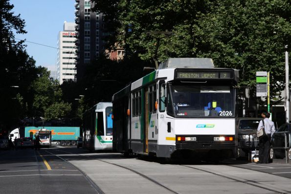 B2.2026 in the new Yarra Trams Mk4 livery eastbound on route 9 along Collins Street at William