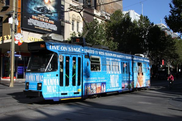 Z3.160 on Swanston Street, advertising 'Mamma Mia'