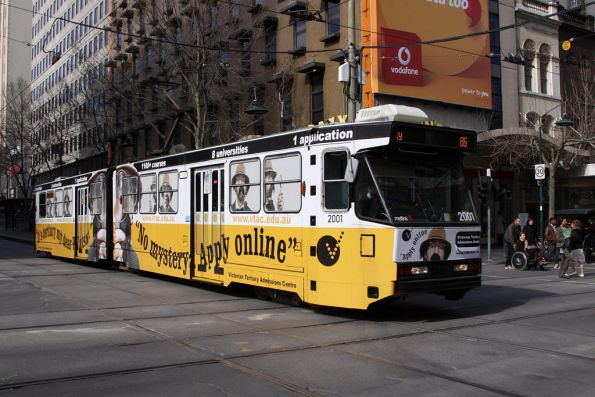 B1.2001 advertising VTAC, westbound on Bourke Street
