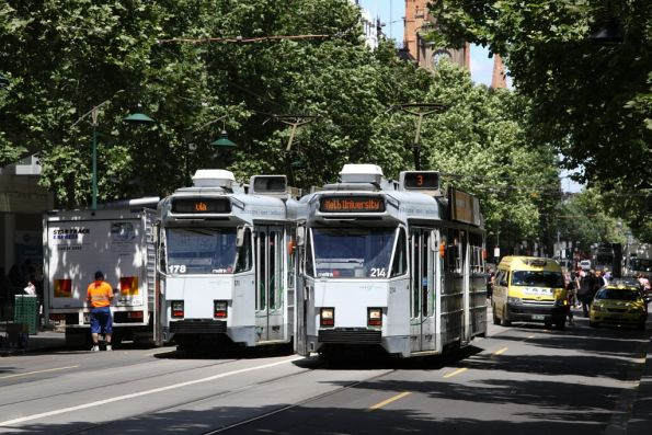Z3.178 and Z3.204 pass on Swanston Street at Bourke Street