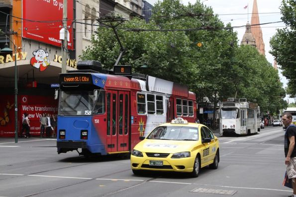 Royal Tram Z3.158 southbound on route 8 at Swanston and Bourke Streets