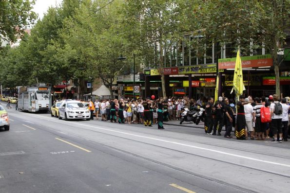 Trams delayed on Swanston Street near Little Bourke due to the Chinese New Year celebrations