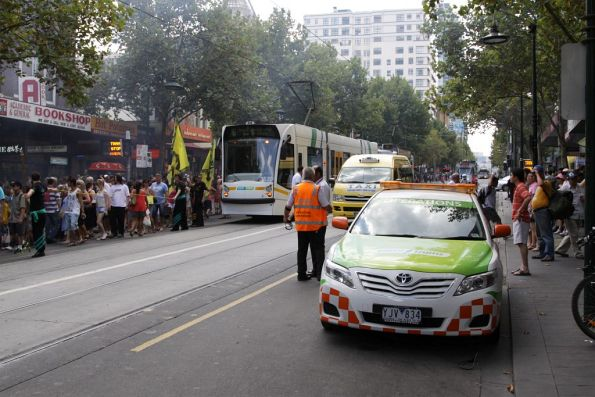 Delays on Swanston Street due to Chinese New Year celebrations spilling into the street