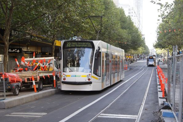 D1.3507 passes ongoing works for the new platform stop on Swanston Street at Bourke