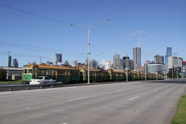Lineup of stabled W class trams in the Footscray Road terminus
