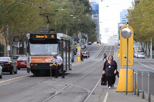 A1.239 with a route 95 service shunts at the Spencer Street crossover on La Trobe Street