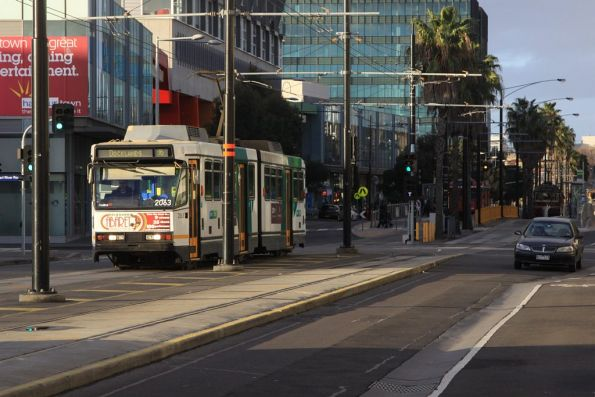 B2.2063 arrives at the Waterfront City Docklands tram terminus
