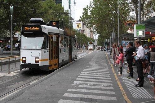 Northbound Z3.141 arrives at the Melbourne Central tram stop on Swanston