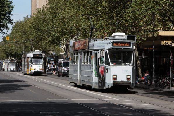 Z3.206 leads classmates northbound at Swanston and Little Collins Streets
