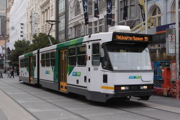 B1.2001 now in Yarra Trams Mk4 livery, eastbound on Bourke Street at Swanston