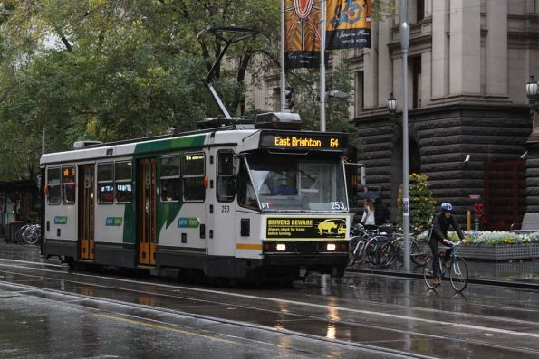 A1.253 heads south on Swanston Street outside Melbourne Town Hall