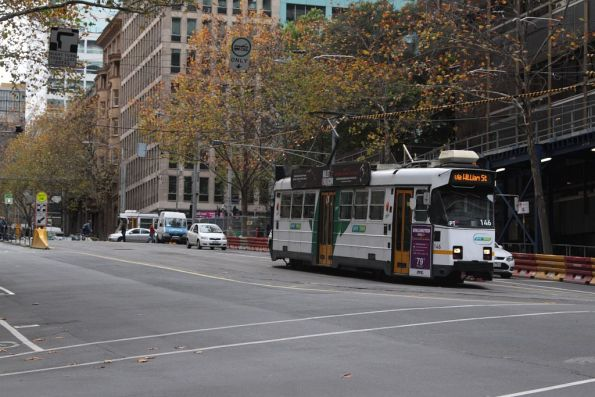 Stopped at the former Flinders Lane tram stop, the Collins Street stop is just a few metres behind Z3.146
