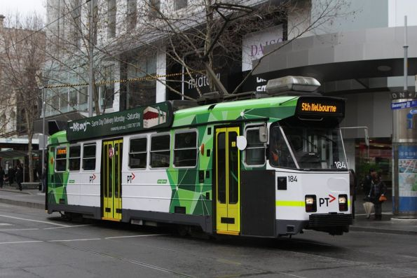 Freshly repainted Z3.184 southbound at Bourke and Swanston Streets