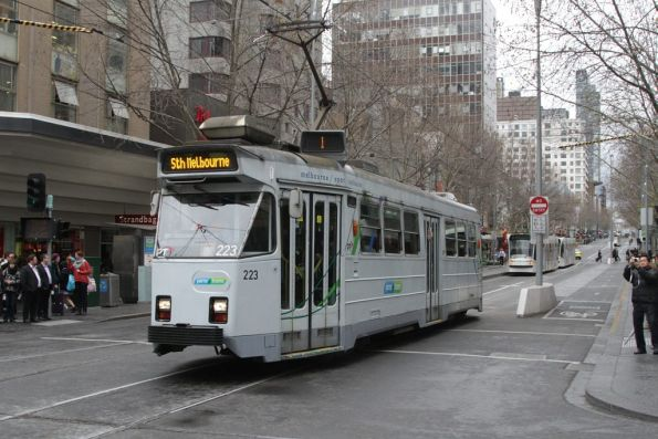 Z3.223 with new Yarra Trams decals southbound at Bourke and Swanston Streets