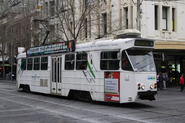 Z1.69 with new Yarra Trams decals on the front, northbound at Bourke and Swanston Streets