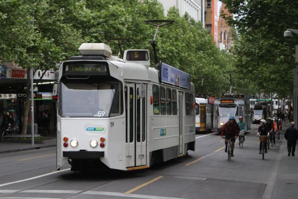 Z1.59 in a cut down Yarra Trams livery, northbound at Swanston and Lonsdale Streets