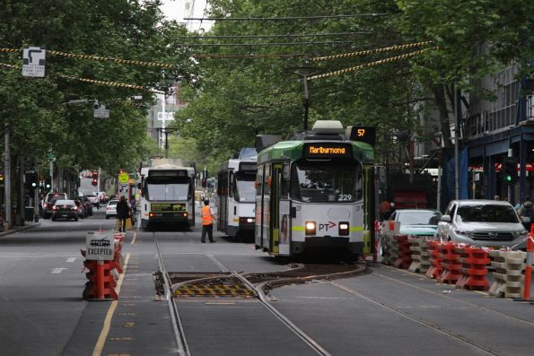 Z3.229 leads the trams waiting to shunt over the temporary crossover