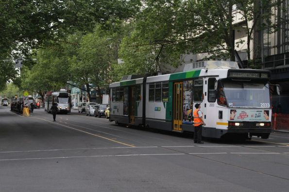 Yarra Trams operations staff instructs the driver of B2.2033
