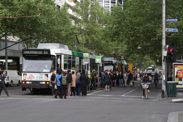 Passengers spill out onto the roadway at Elizabeth and Franklin Streets, due to the tram line south being closed
