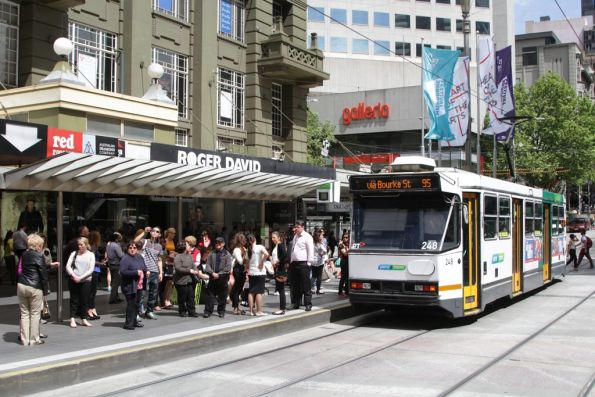 Lunchtime commuters in the mall left behind by A1.248 on a route 95 short along Bourke Street