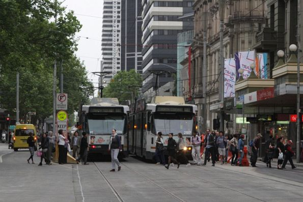Passengers walking every which way at the temporary tram stop at Bourke and Elizabeth Streets