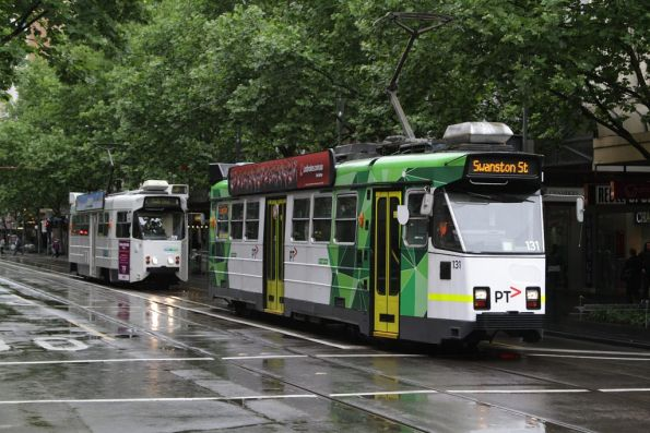 Z3.131 leads Z1.59 northbound at Swanston and Bourke Streets