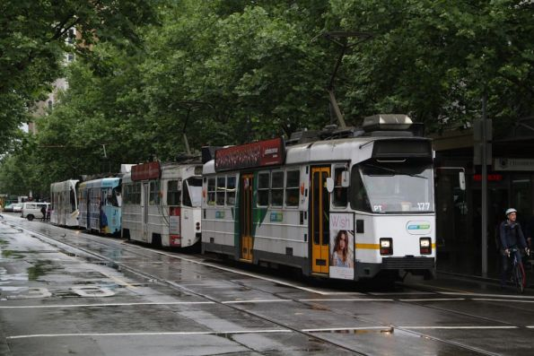 Z3.177 leads a queue of northbound trams at Swanston and Bourke Streets