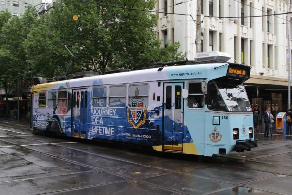 Z3.160 advertising 'Geelong Grammar School' northbound at Swanston and Bourke Streets