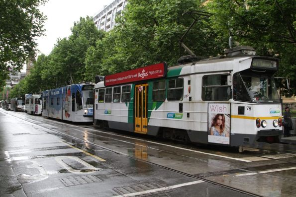 Z1.78 leads a queue of southbound trams at Flinders and Swanston Streets
