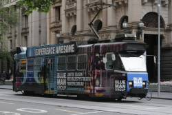 Z3.148 advertising 'Blue Man Group' southbound at Collins and Swanston Streets
