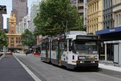 B2.2099 heads north past the future Collins and Elizabeth Street tram stop