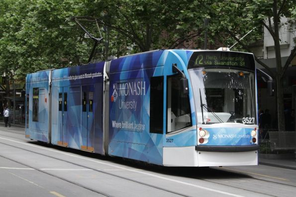 D1.3527 advertising 'Monash University' northbound at Swanston and Bourke Streets