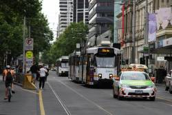 Yarra Trams operations car in attendance on Elizabeth Street