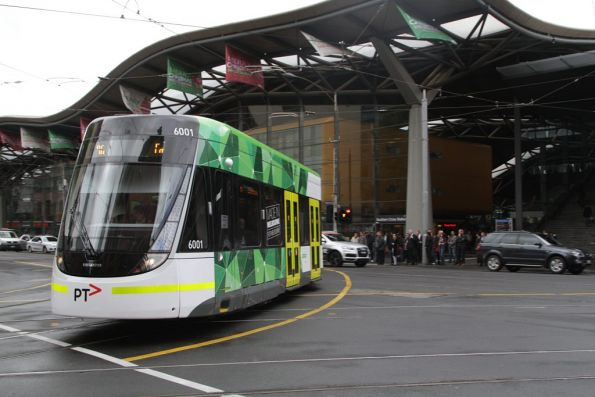 Turning from Spencer Street into Bourke, E.6001 outside Southern Cross Station