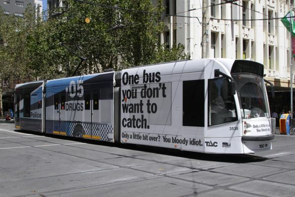 D1.3538 advertising TAC and booze buses at Swanston and Bourke Streets
