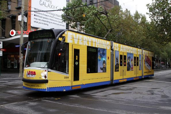 D1.3504 advertising 'Lego Movie' on route 5 northbound at the corner of Swanston and Bourke Streets