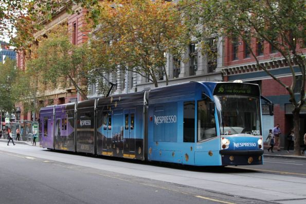 D2.5010 advertising 'Nespresso' on route 96 eastbound on Bourke Street at Spencer