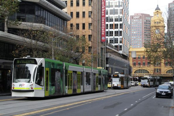 The three types of trams on Elizabeth Street - D2 on route 19, along with Z3s on the 57 and B2 class on route 59