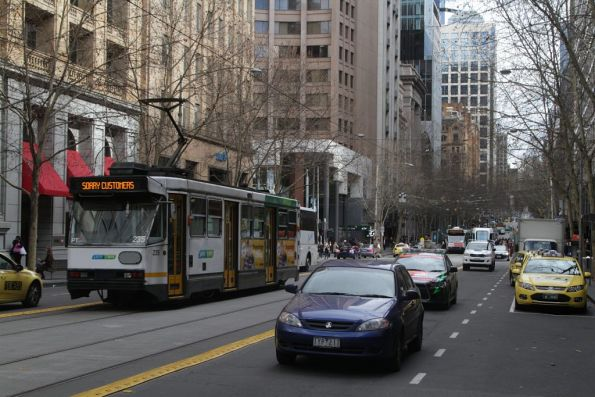 Out of service A1.235 heads east on Collins Street at Elizabeth
