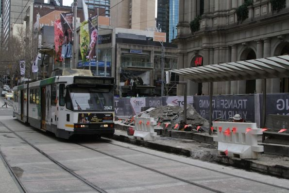 B2.2047 passes reconstruction work at the Bourke and Elizabeth Street platform stop