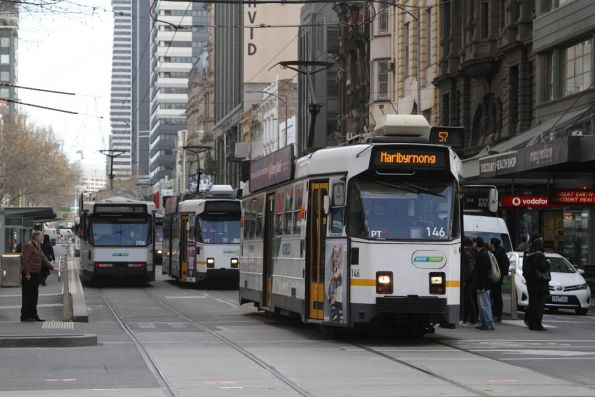 Z3.146 leads a queue of southbound trams on Elizabeth Street at Collins Street