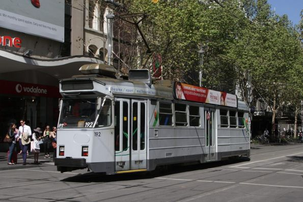 Z3.192 with a patched up Yarra Trams Mk2 livery, southbound at Swanston and Bourke Street