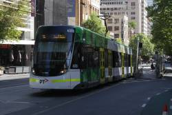 E.6008 heads east on route 96 at Bourke and Exhibition Street