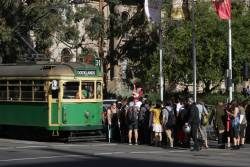 Mob of RMIT University graduates making life hard for passengers trying to leave the tram at La Trobe and Swanston Street