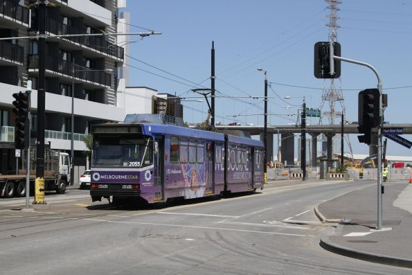 B2.2055 advertising 'Melbourne Star' arrives at the Waterfront City terminus