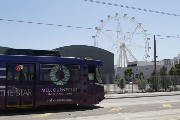 B2.2055 advertising 'Melbourne Star' at the Waterfront City terminus, opposite the giant hampster wheel