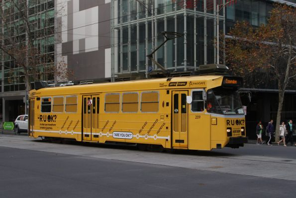 Z3.209 advertising 'R U OK' on a route 55d service at William and Lonsdale Street